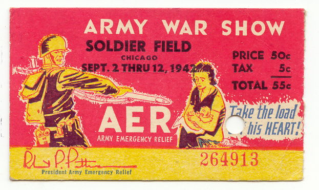 1942 US Army War Show Ticket Home Front Militaria Used Soldier Field Chicago