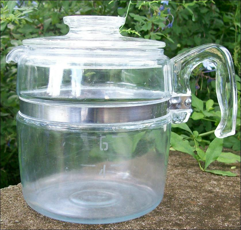 Pyrex Flameware Percolator Carafe with Lid Only 6-Cup 1950s 7756B/7756C