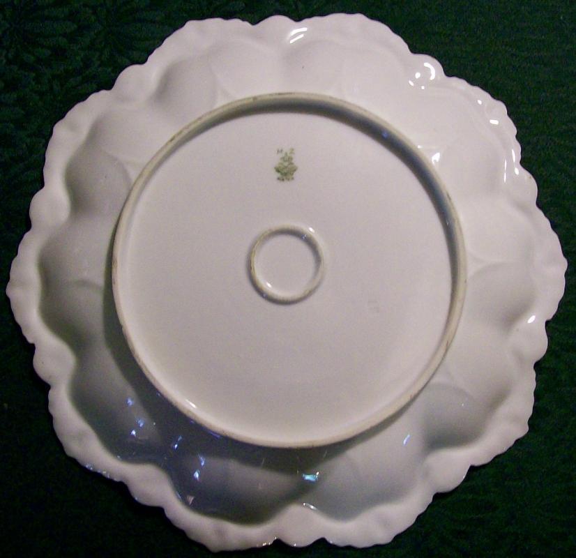 Altrohlau Porcelain Fancy Scalloped Plate Pink & Yellow Roses MZ/Moritz Zdekauer  Austria
