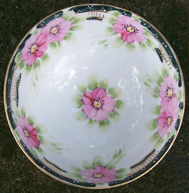 Noritake Nippon Hand-Painted Bowl 3 Ball Feet 1911-21 Pink Floral with Blue Trim