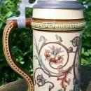 Mettlach Ceramic Stein with Smoker #1530 R. Buch Artist 1894