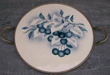 German Graniteware  Handled Tray: Fruit Decoration