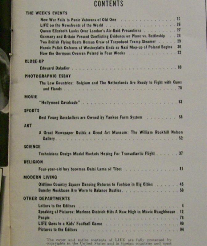 Life Magazine 10/9/1939 Kid's Football / German Invasion / Hollywood Movie Stars