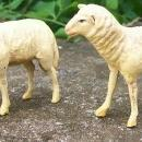 1800's Composition Figural Toy Sheep Pair Nativity Germany
