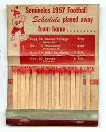 Florida Seminoles 1957 Football Schedule Match Book