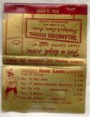 Florida Seminoles 1957 Football Schedule Matchbook