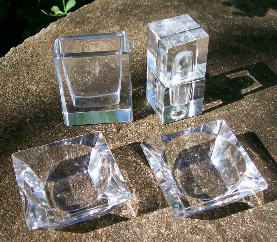 German Cut Crystal Smoke Set 1960s-70s Clear 4 Pieces