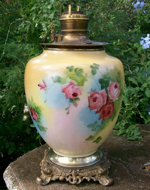 Victorian Vase Lamp: Center Draft Oil: No Shade