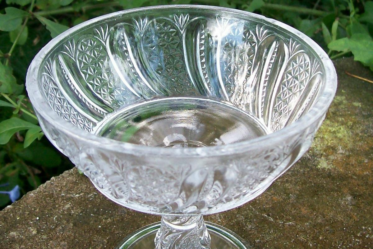 McKee Feather Jelly Compote Ca. 1900 Clear Early American Pressed Glass