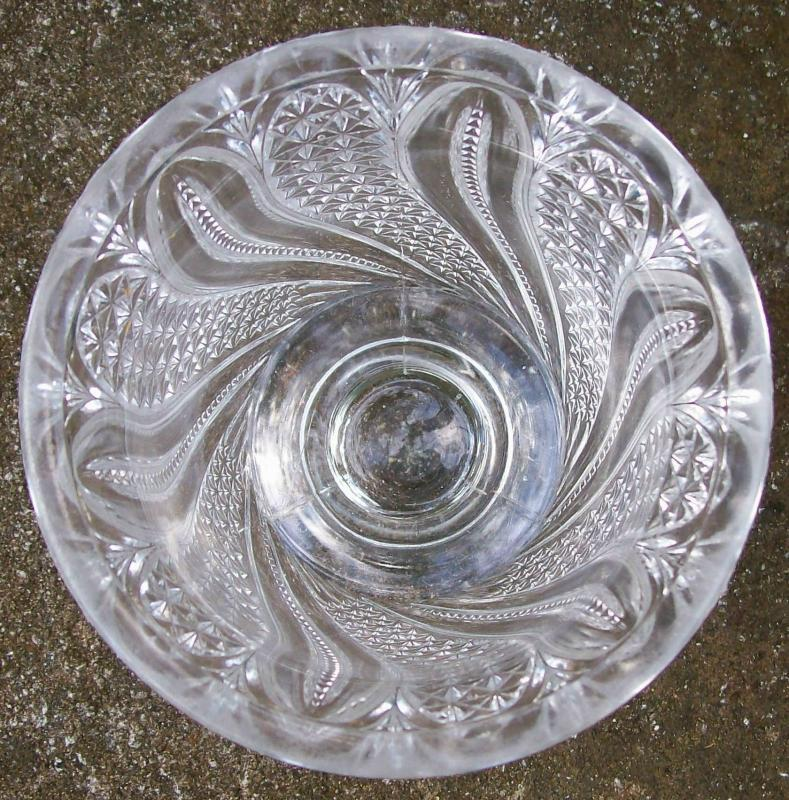 McKee Feather Open Sugar/Spoonholder Ca. 1900 Clear Early American Pressed Glass