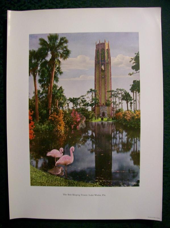 Bok Singing Tower Print Lake Wales Florida Carillon Dresden Germany 1920's-30's