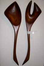 Polynesian Monkeypod Wood Salad Fork & Spoon