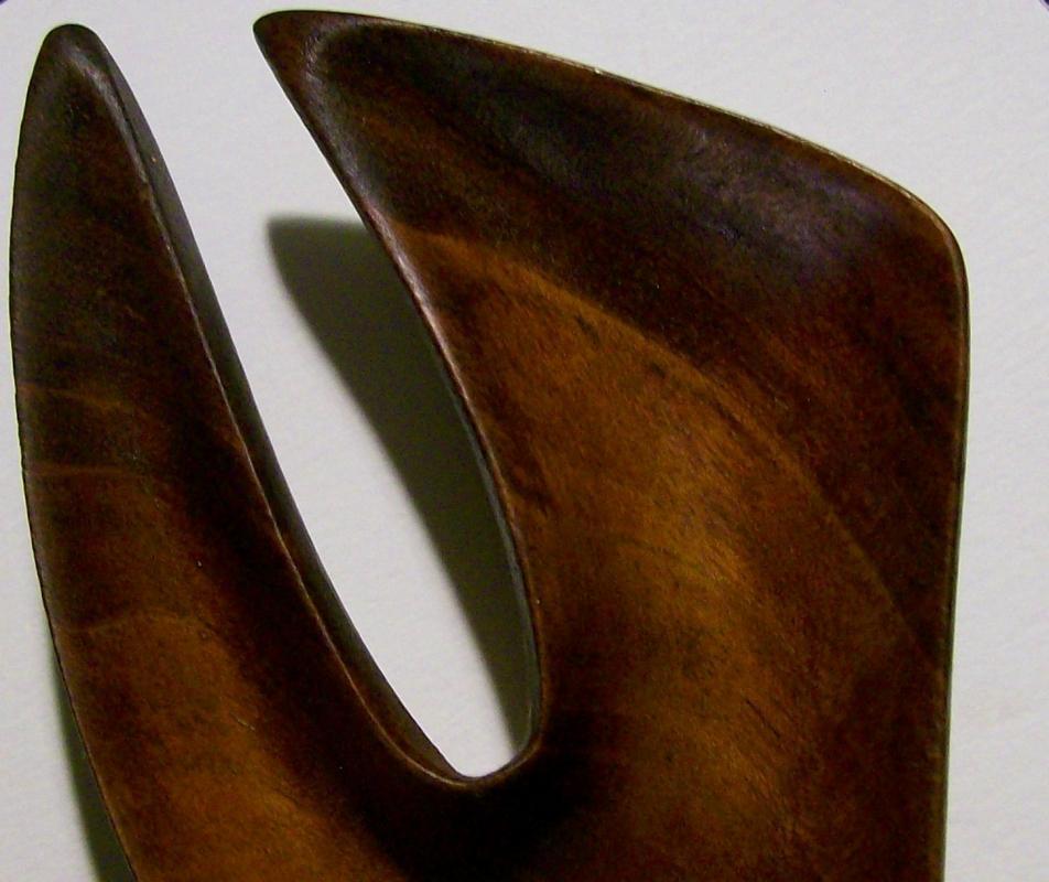 Polynesian Monkeypod Wood Salad Fork & Spoon 1950s-60s
