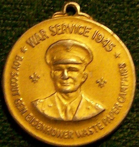 Boy Scouts/ Eisenhower WWII Service Medal 1945 Waste Paper Campaign