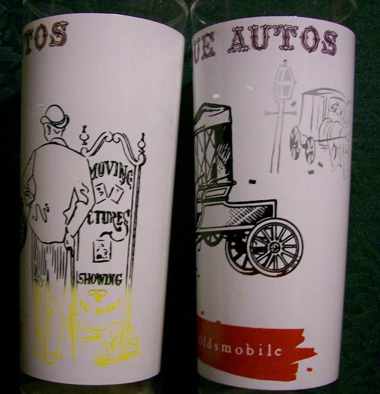 A. Hocking Antique Autos Glass Tumbler Pair 1950s-60s Hudson/Oldsmobile
