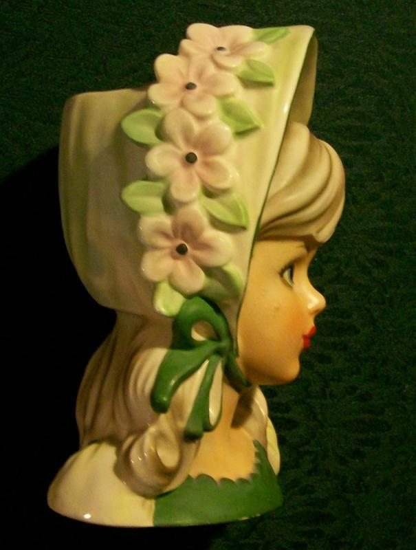 Relpo Head Vase: Young Lady with Bonnet