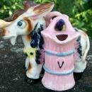 Figural Donkey Ceramic Oil & Vinegar Set 1950's Carrier w/ Hanging Cruets