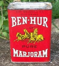 Spice Tin: Ben-Hur Marjoram, Circa 1930's 2 Ounce with Contents