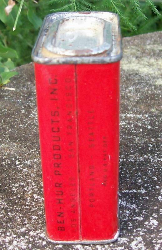 Spice Tin: Ben-Hur Marjoram, Circa 1930's 2 Ounce with Contents