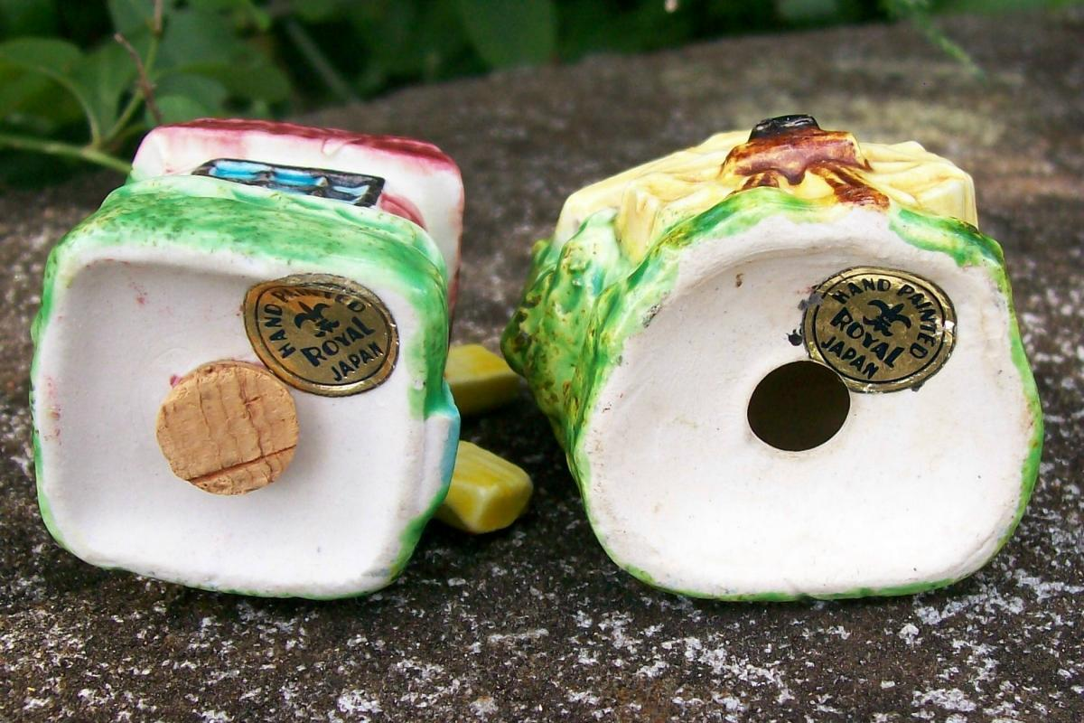 Figural Mill Salt & Pepper Shakers Wind & Water Royal Japan 1950's