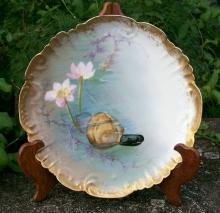 Klingenberg Limoges Clam Plate: Hand-Painted