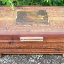 Cedar Wood Dresser Box Domed Lid Pastoral Scene Decoration