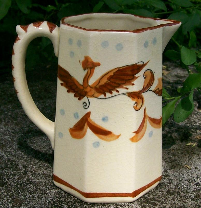 Phoenix Bird Pitcher: Japanese Hand-Painted