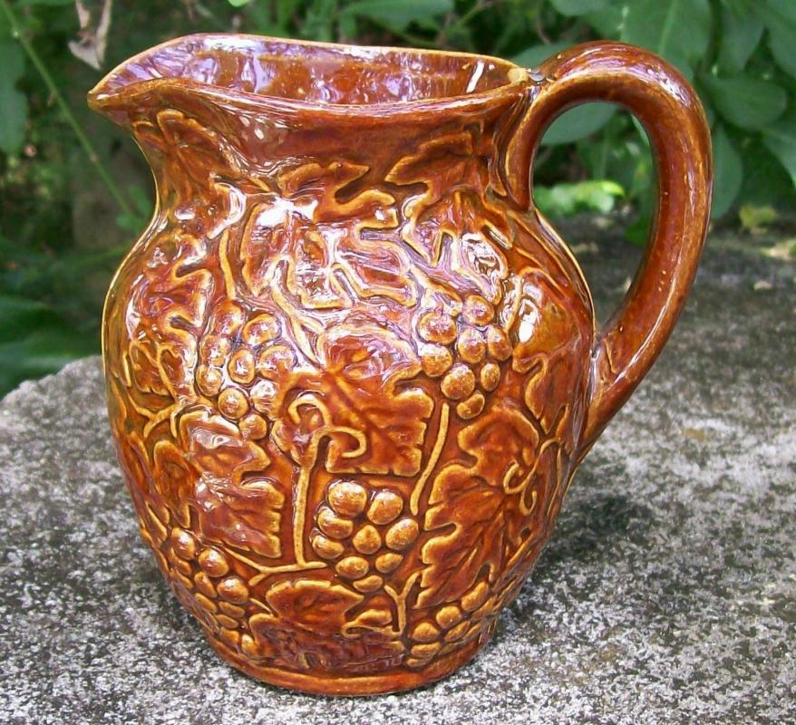 Uhl Pottery Stoneware Grape Pitcher #184 Brown Glaze 4.5