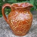 Uhl Pottery Stoneware Grape Pitcher #184 Brown Glaze 4.5