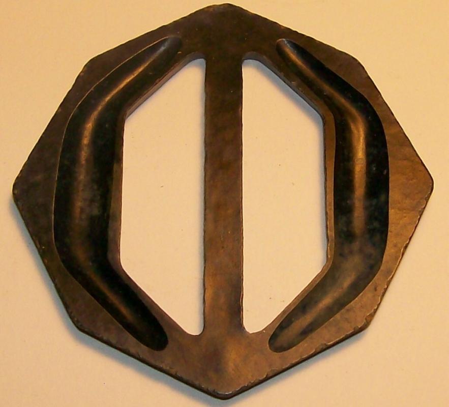 Bakelite/Catalin Belt Buckle Mottled Blue Octagon 2.5