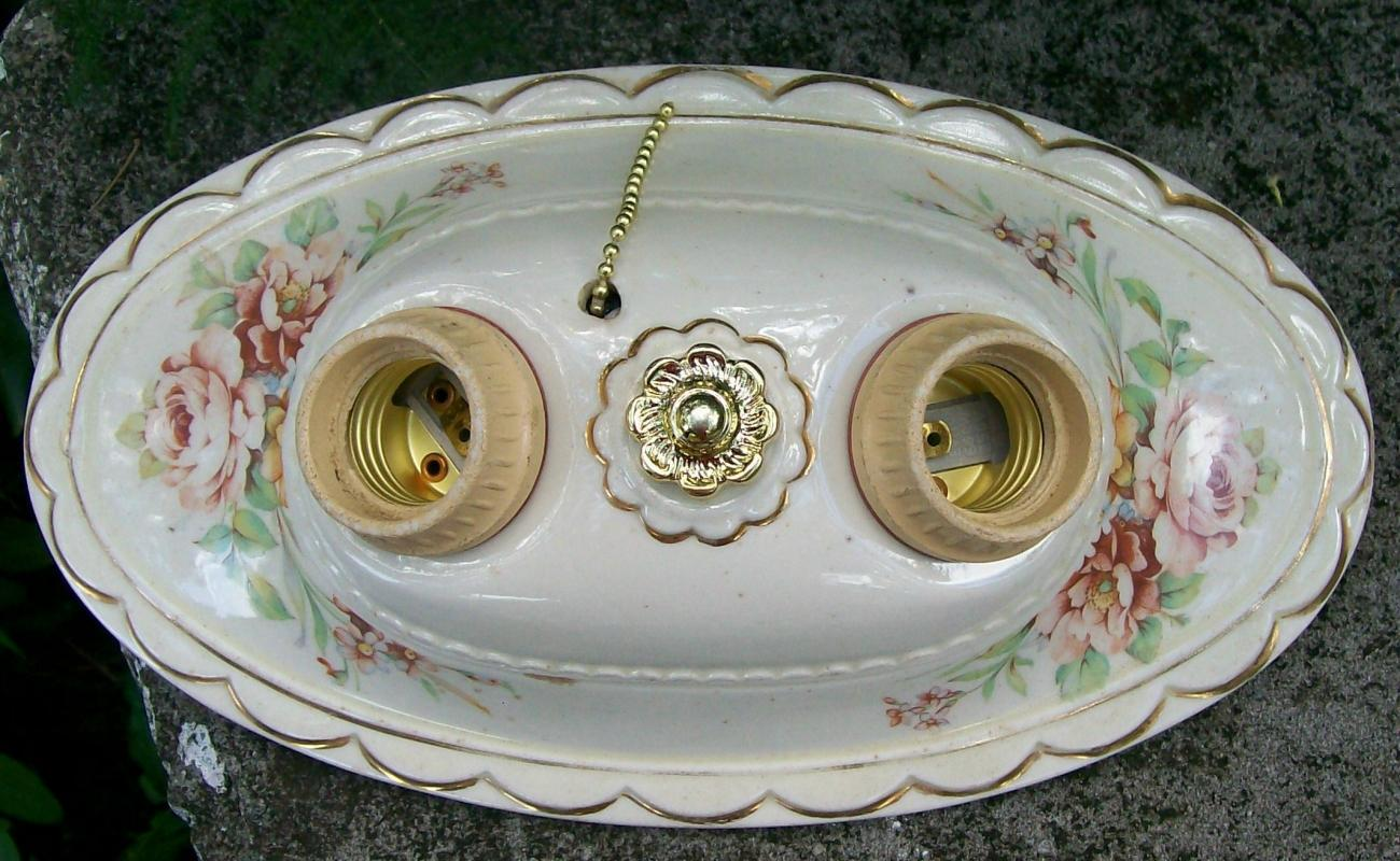 Ceramic Ceiling Light Fixture1930s Rose Decals 2 Socket Rewired 11