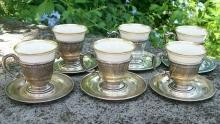 Dominick & Haff Sterling Silver Demitasse Cup & Saucer Set  of 6 #792 Lenox China Liners