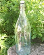 Picnic Beer/Soda Glass Bottle: Porcelain Stopper Late 1800's Aqua