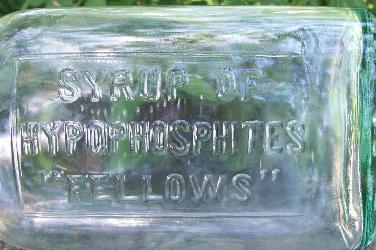 Fellows Syrup of Hypophosphites Medicine Bottle Embossed Green Glass