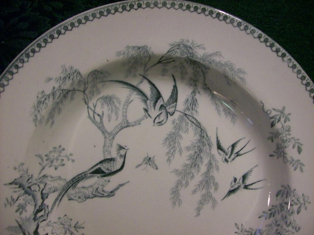 Elsmore Parisian Granite Ceramic Bowl Chinese Pheasants Ca. 1880 8.75