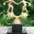 Black Onyx Bowling Trophy 1950s Gold-Tone Man/Woman Bowler 8