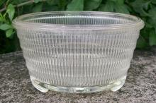 Corning/Weico Glass Planter/Flower Pot Clear Ribbed 1950's