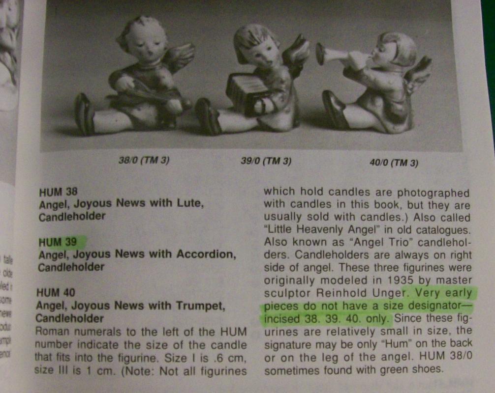 Hummel Joyous News with Accordion #39 TM1 Ceramic Figural Candleholder by Goebel 1935-50