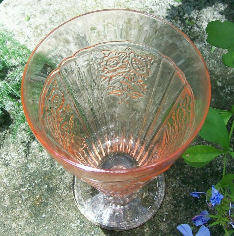Hocking Mayfair/Open Rose Footed Iced Tea Glass Tumbler Pink 15 Oz.
