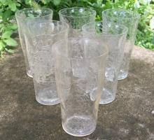 Crackle Glass Clear Tumbler Set of 6