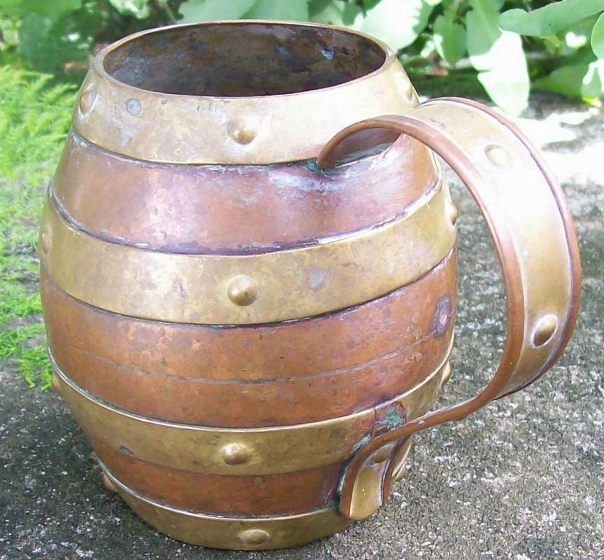 Arts & Crafts Copper Mug with Brass Bands