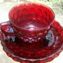 A. Hocking Glass Ruby Red Bubble Cup & Saucer 1940's-60's