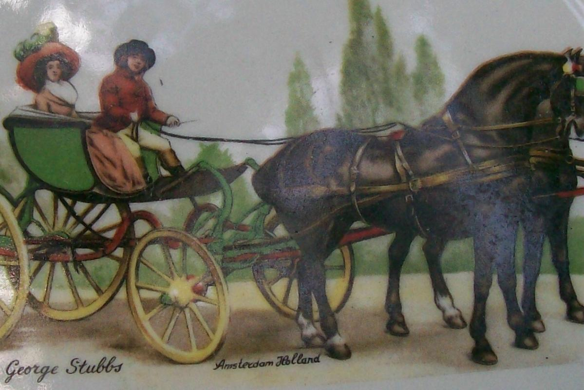 George Stubbs Horse & Carriage Ceramic Plate Amsterdam Souvenir 7.75