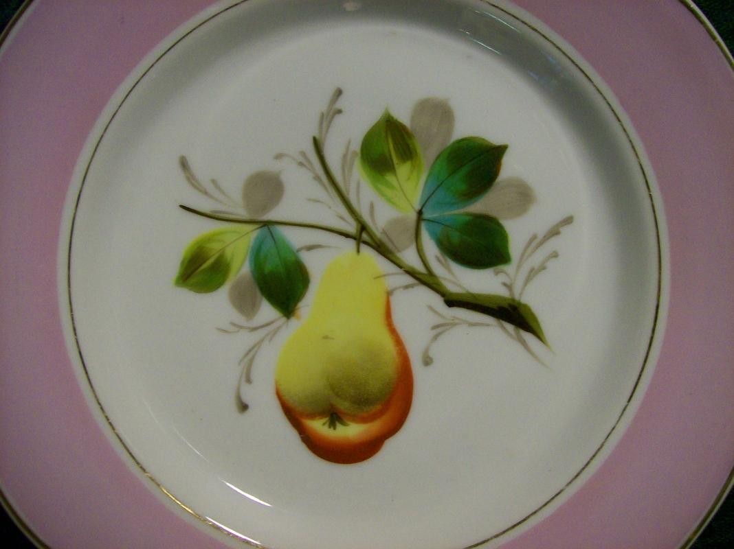 Limoges Porcelain Fruit Plate Ca. 1880 Hand-Painted Pear