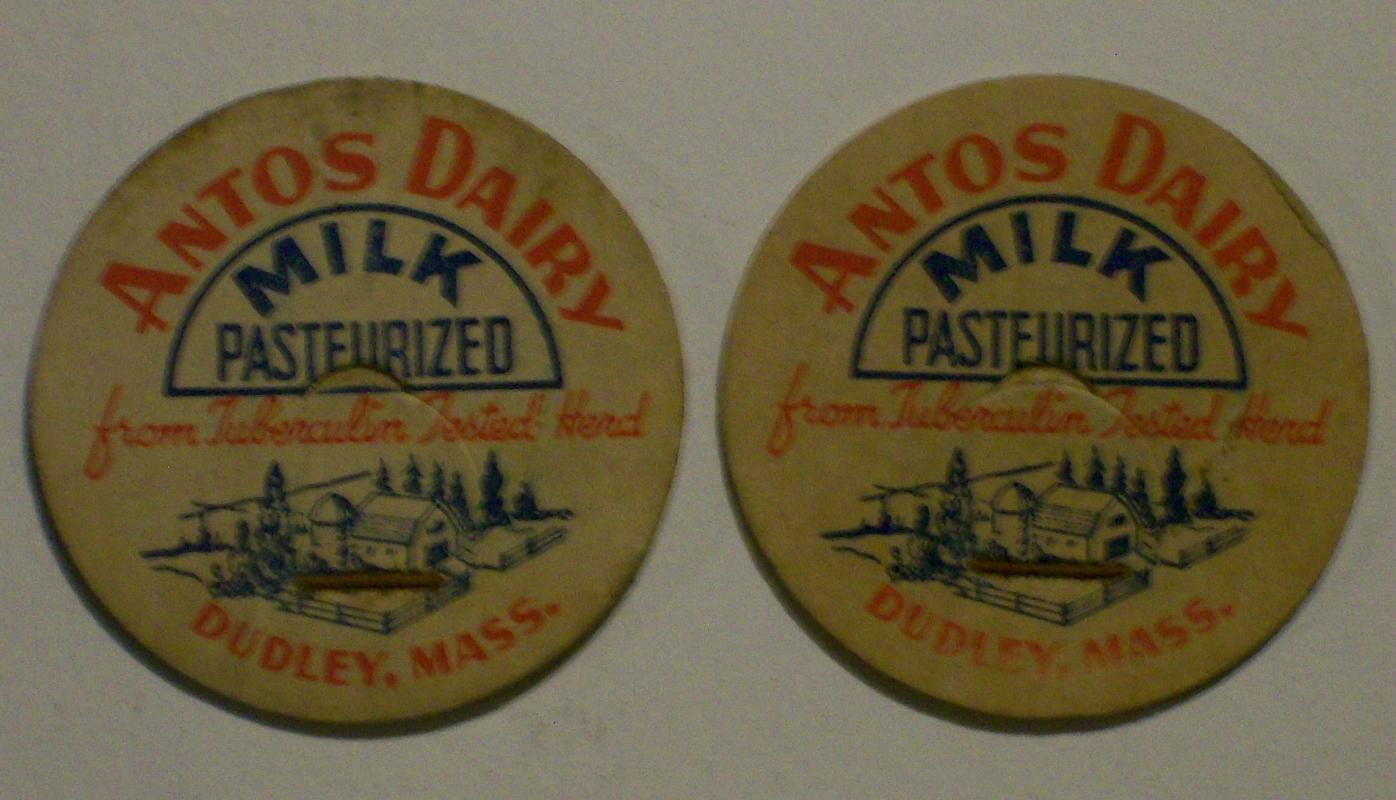 Dairy Milk Caps: Antos Dairy, Dudley, Massachusetts
