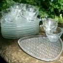 A. Hocking Triangle 16-Pc. Glass Snack Set Daisy & Button Original Box
