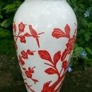 A. Hocking Glass Vitrock Vase Red Birds & Blossoms