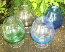 Vintage Multi-Colored Glass Brandy Snifter Set of 4 1960's