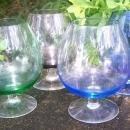Multi-Colored Glass Brandy Snifter Set of 4 1960's