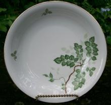 Schirnding Bavaria Porcelain Soup Bowls Ca. 1957 Green Leaf